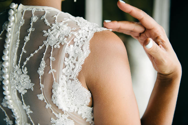 Amazing Beaded Lace Back Wedding Dress // South African Vivere Country House Wedding // Simone Franzel Photography