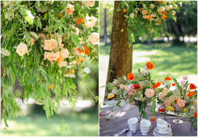 Whimsical Garden Wedding flowers in Peach, green and silver Grey // Nikki Meyer Photography