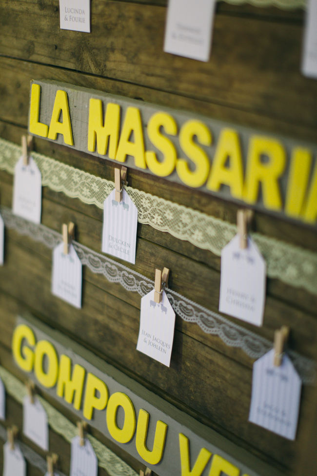Lace and luggage tag Seating Chart //  Beautiful Gray and Yellow Rustic Winter Wedding Reception Decor / Jenni Elizabeth Photography
