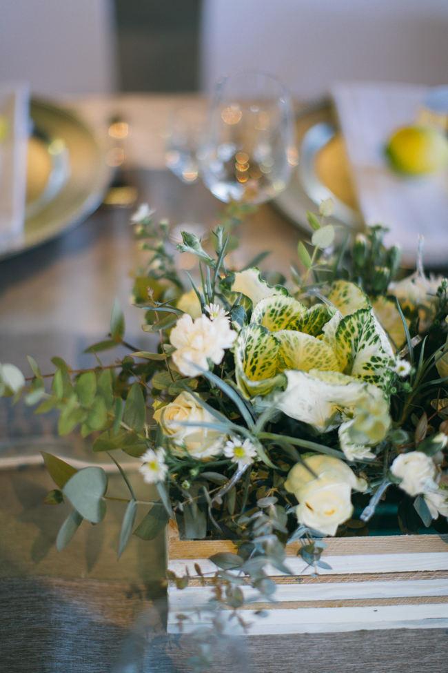 Kale wedding centerpiece //  Beautiful Gray and Yellow Rustic Winter Wedding Reception Decor / Jenni Elizabeth Photography