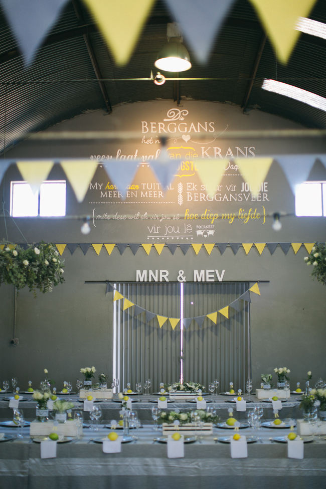 Yellow and Grey Bunting //  Beautiful Gray and Yellow Rustic Winter Wedding Reception Decor / Jenni Elizabeth Photography