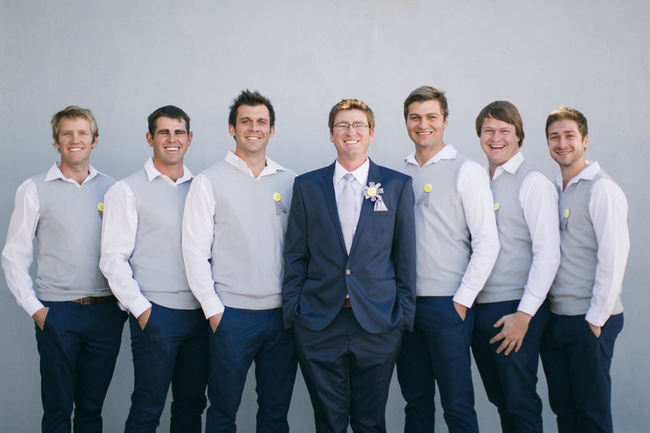 Grey and navy groomsmen // Beautiful Gray and Yellow Winter Wedding / Jenni Elizabeth Photography