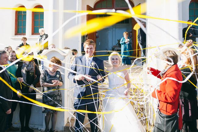 Wedding streamers // Beautiful Gray and Yellow Winter Wedding / Jenni Elizabeth Photography