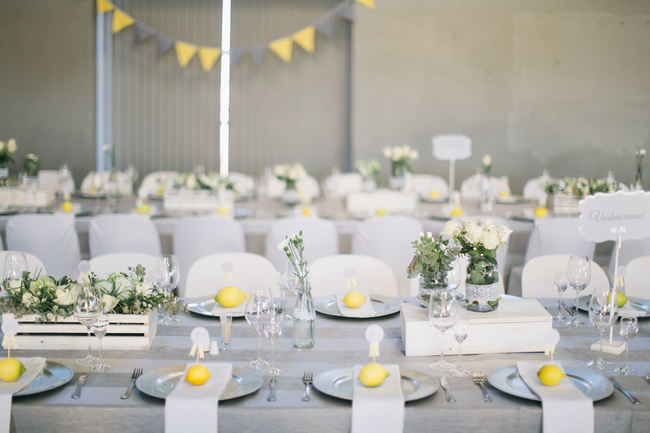 tablescape //  Beautiful Gray and Yellow Rustic Winter Wedding Reception Decor / Jenni Elizabeth Photography