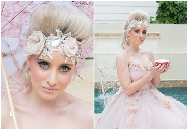 Delightfully Decadent Cream and Pink Marie Antoinette Wedding {Ninique Fashion Photography}