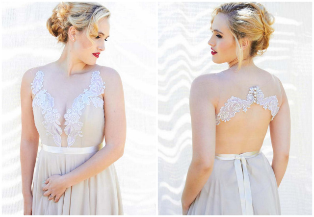 Sheer back illusion lace wedding dress // Navy Blue Beach Wedding
