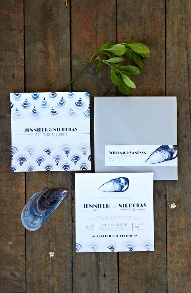 Navy Seashell Wedding invitation // Navy Blue Beach Wedding