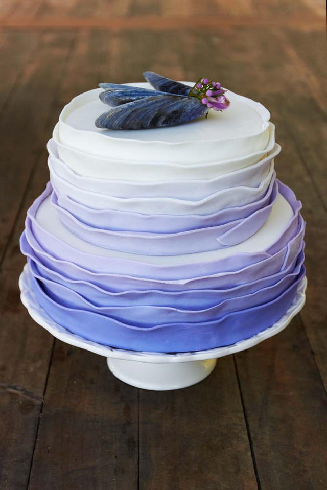 Ombre Ruffle Cake // Navy Blue Beach Wedding