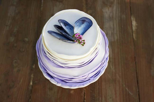 Ombre Ruffle Cake with sea shell // Navy Blue Beach Wedding