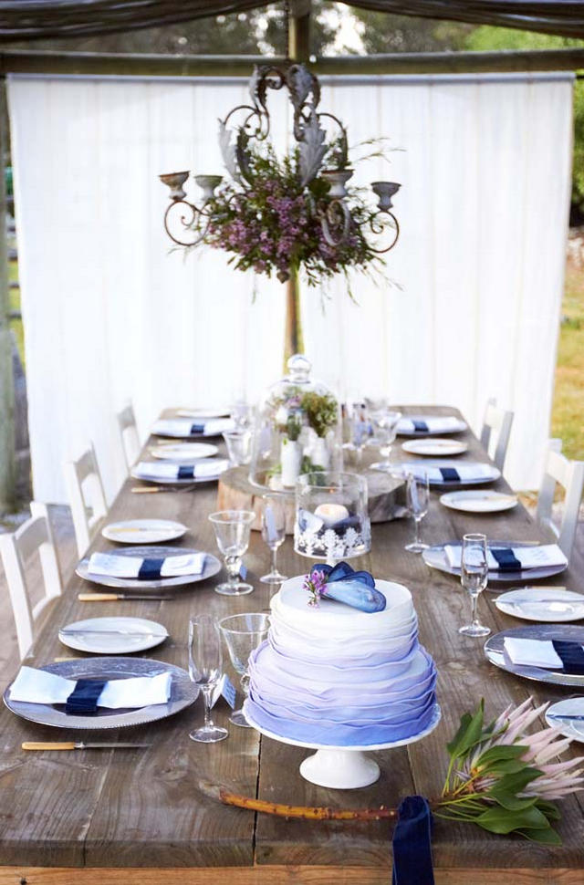 Blue Purple Ombre Ruffle Cake // Navy Blue Beach Wedding