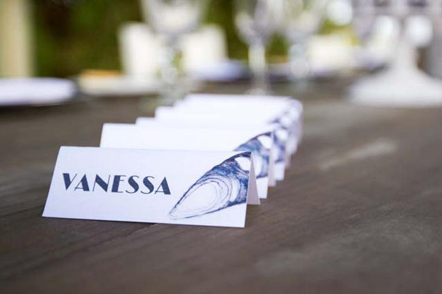 Beach Wedding Seashell Name Cards // Navy Blue Beach Wedding