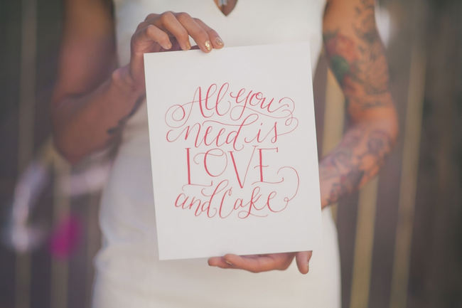 All you need is love and cake wedding sign // Water color drink tags and orange refreshments // Orange Hot Pink Watercolor Wedding Ideas by Alexandra Wallace Photography