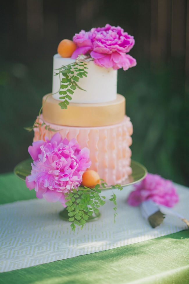 Amazing tropical wedding cake with peony and ruffles // Orange Hot Pink Watercolor Wedding Ideas by Alexandra Wallace Photography