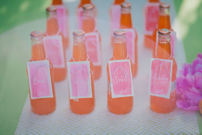 Water color drink tags and orange refreshments // Orange Hot Pink Watercolor Wedding Ideas by Alexandra Wallace Photography