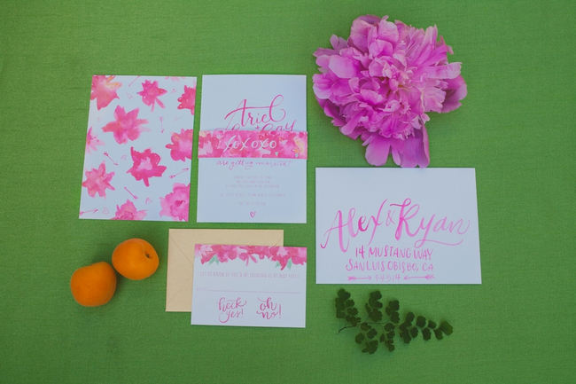 Peony Watercolor Wedding Invitations // Lovely bright peony table decor // Orange Hot Pink Watercolor Wedding Ideas by Alexandra Wallace Photography