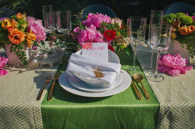 Place Setting - Lovely bright peony table decor // Orange Hot Pink Watercolor Wedding Ideas by Alexandra Wallace Photography