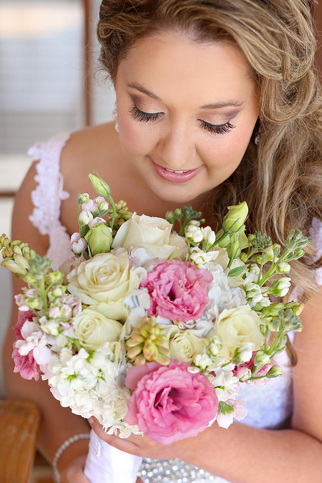 Pink, white, green wedding bouquet