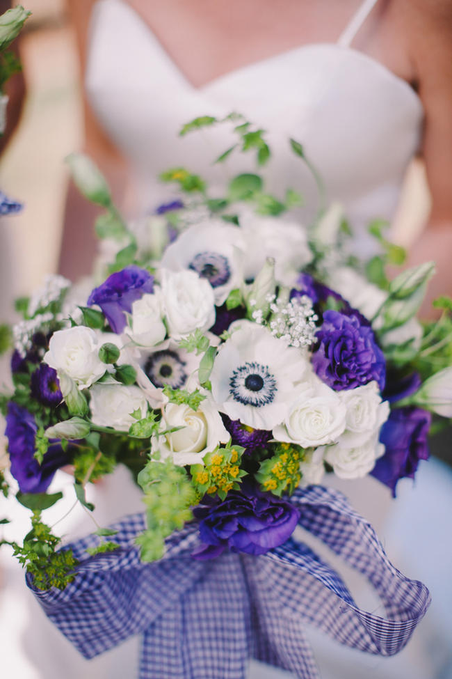 Stunning purple and white bridal bouquet // Purple and Cream Gingham Farm wedding // Audra Starr