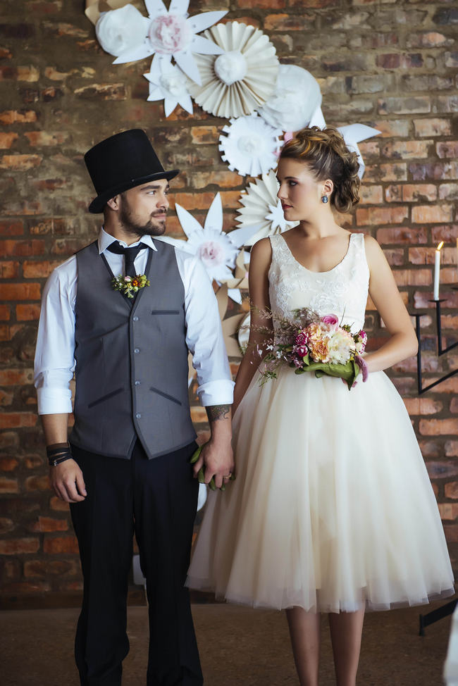 Superb Short Tulle Wedding Dress // Rockabilly Wedding Ideas // Claire Thompson  Photography