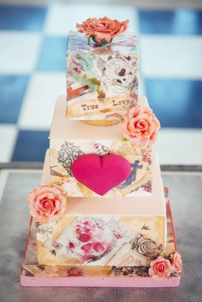 Tattoo Wedding Cake // Rockabilly Wedding Ideas // Claire Thompson photography // Ed Hardy Inspired