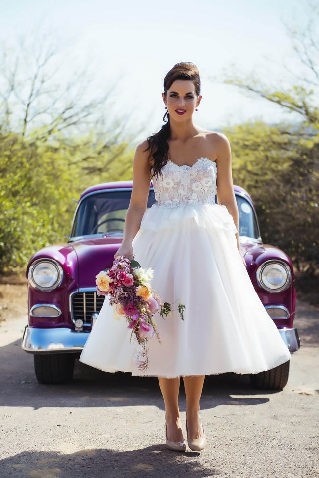 Great Short Tulle Wedding Dress // Rockabilly Wedding Ideas // Claire Thompson  Photography