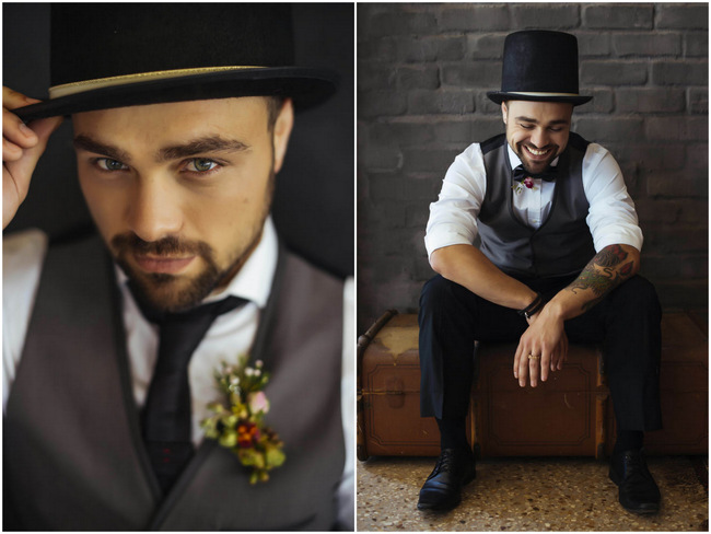 Such cool vintage groom style - Top Hat, Vest, Suit // Rockabilly Wedding Ideas // Claire Thompson photography