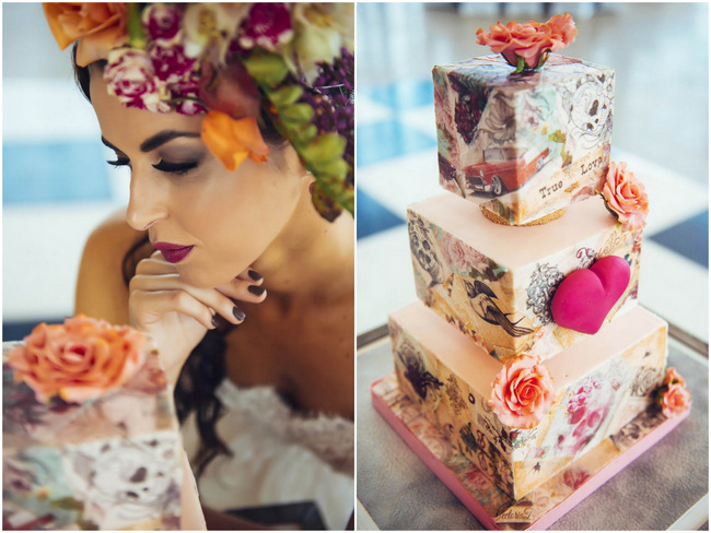 Ed Hardy Style Wedding Cake // Rockabilly Wedding Ideas // Claire Thompson photography