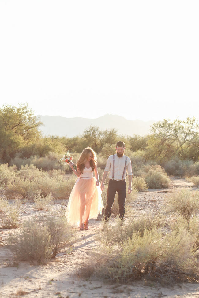 Handmade Peach Garden Weddding Bouquet and handmade Tulle Dress / Whimsical Arizona Desert Engagement Shoot // Morgan McLane Photography