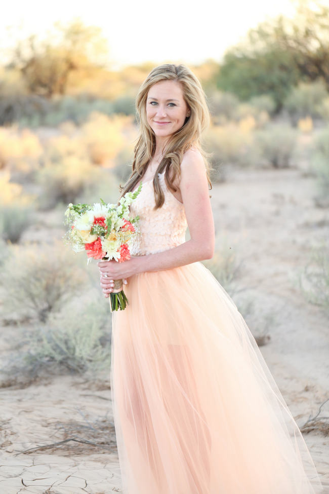 DIY Peach Tulle Dress // Whimsical Arizona Desert Engagement Shoot // Morgan McLane Photography
