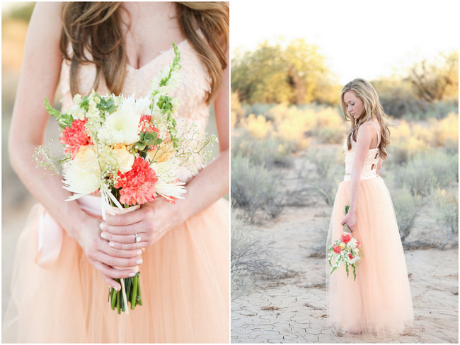 Handmade Peach Garden Weddding Bouquet and handmade Tulle Dress