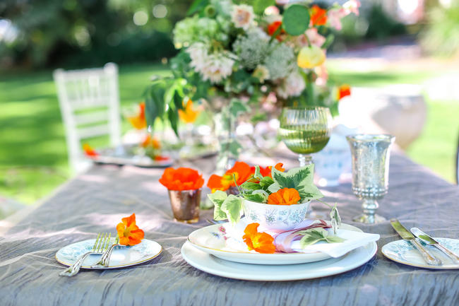 Whimsical Garden Wedding Tablescape in Peach and Grey // Nikki Meyer Photography