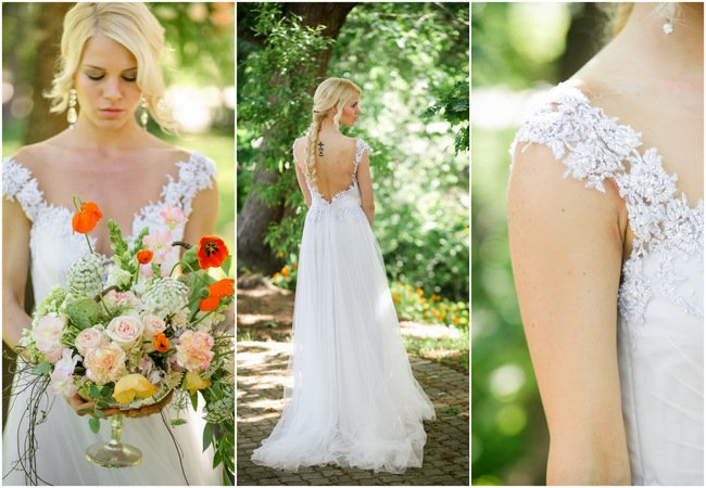 Whimsical Garden Wedding in Peach and Silver Grey {Nikki Meyer Photography}