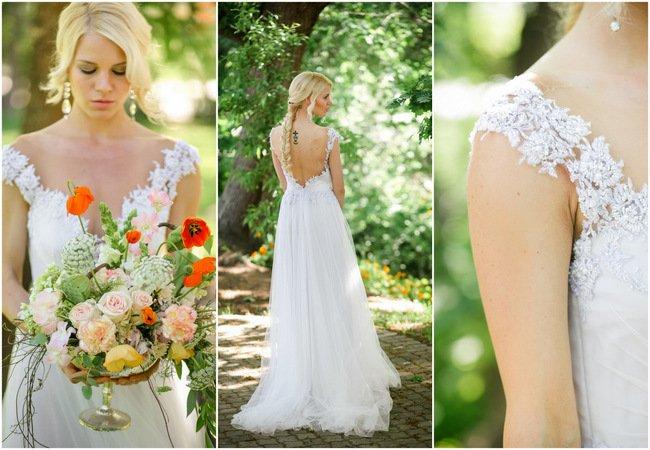 Whimsical Garden Wedding in Peach and Silver Grey {Nikki Meyer Photography}
