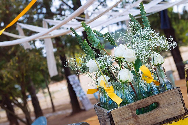 Vintage crate and bottles // Yellow and Grey DIY Vintage Wedding // Miracles Photo