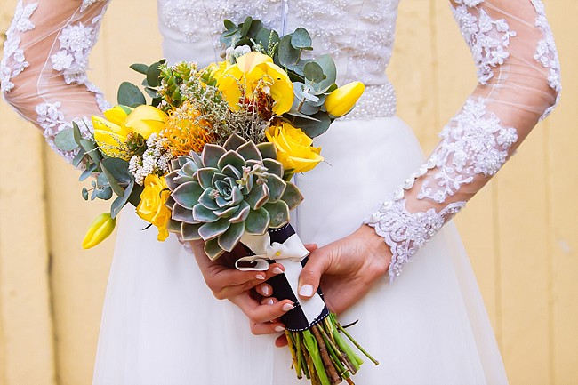 Yello succulent bouquet