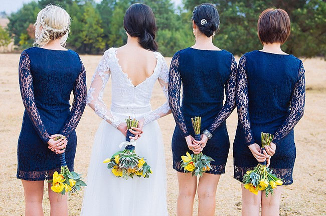 Short Navy Bridesmaid Dress with long lace sleeves