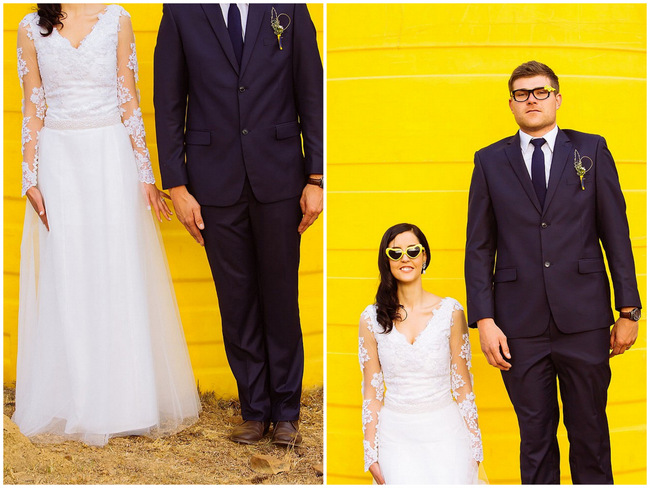 Cute Couple Wedding photography  // Yellow and Grey DIY Vintage Wedding // Miracles Photo