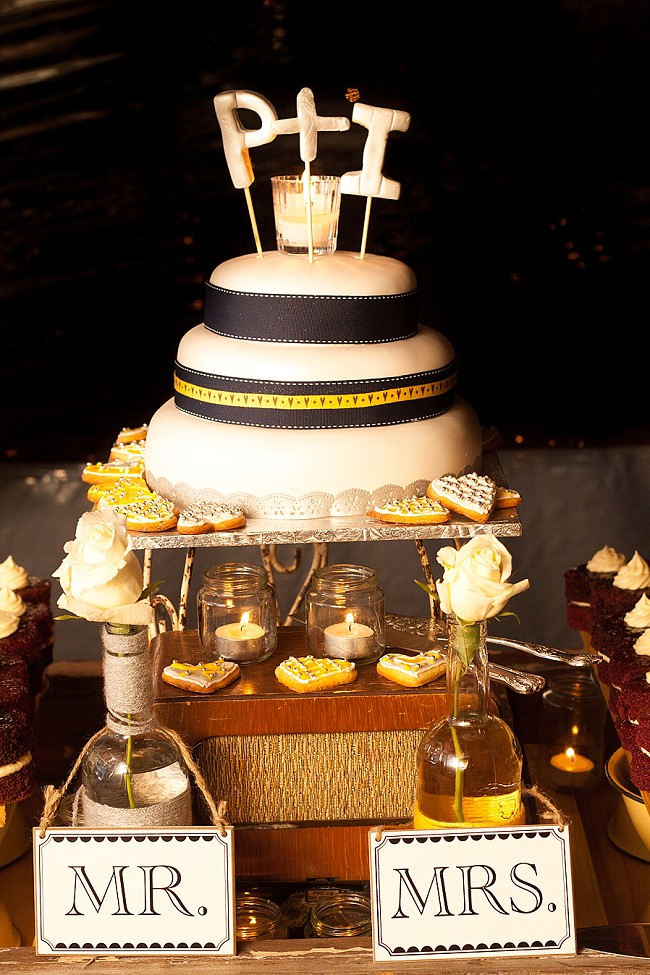 Wedding Cake //Yellow and Grey DIY Vintage Wedding // Miracles Photo