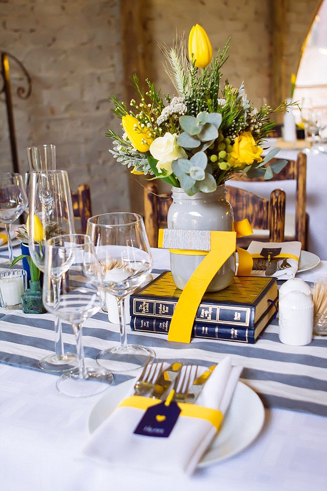 Vintage books and painted jars reception decor // Yellow and Grey DIY Vintage Wedding // Miracles Photo
