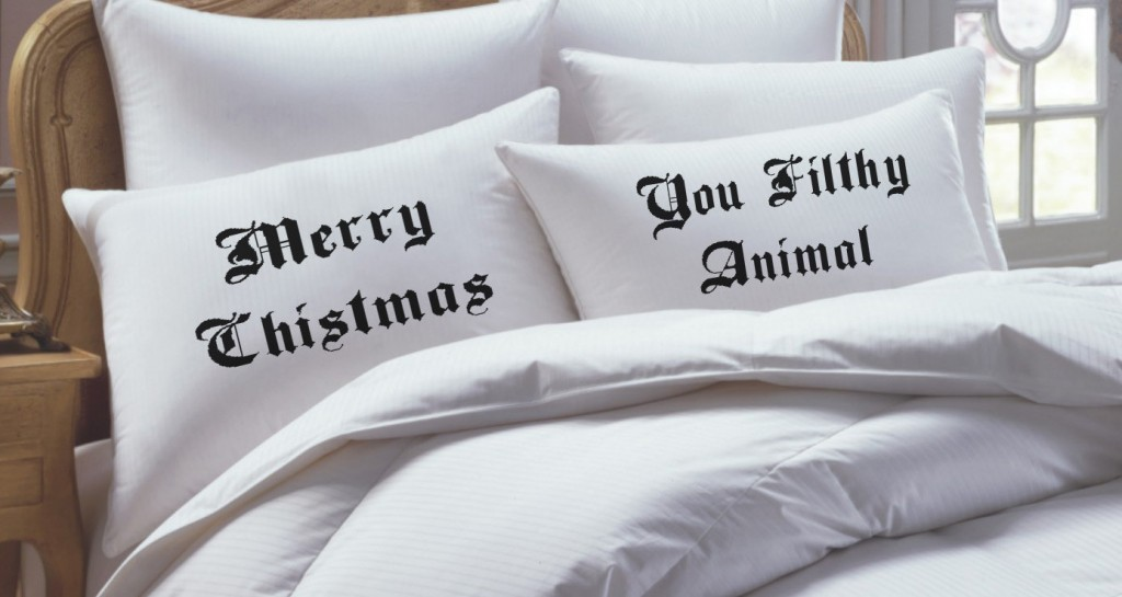 "Christmas Gifts for Him That Dont Suck: ""Merry Christmas, You Filthy Animal!"" his and hers pillow covers"
