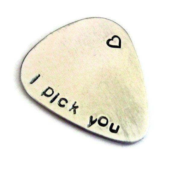 Christmas Gifts for Him That Dont Suck : I PICK you, cute engraved guitar pick for your muso guy