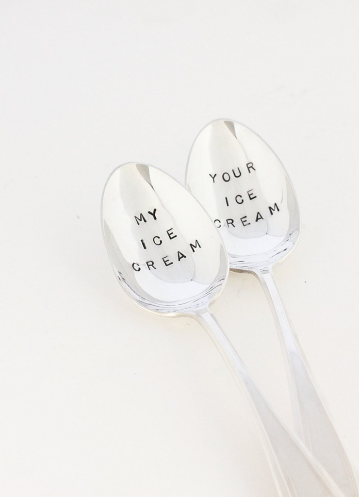 "Christmas Gifts for Him That Dont Suck: His and Hers 'My Ice Cream"" and 'Your Ice Cream' cute silver spoons"