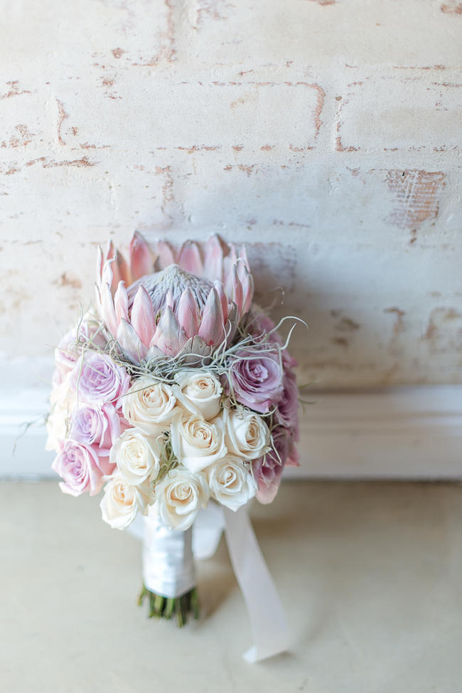 Stunning, large Pink Cream King Protea Wedding Bouquet // Lightburst Photography