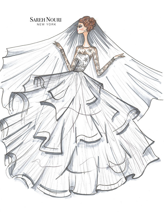 From Sketch to Gown: Wedding Dress Designer Sketches by Sareh Nouri