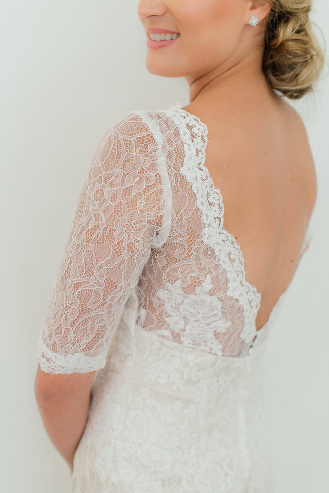 Open, Lace backed wedding with deep V and three quarter lace sleeves from Blush Bridal // Dehan Engelbrecht Photography