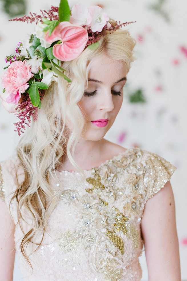 Blush pink and gold Wedding Dress by Alana van Heerden // Pics Debbie Lourens // Make-up and Hair: Fringe Hair and Make-up // Flowers Paramithi Flowers and Decor