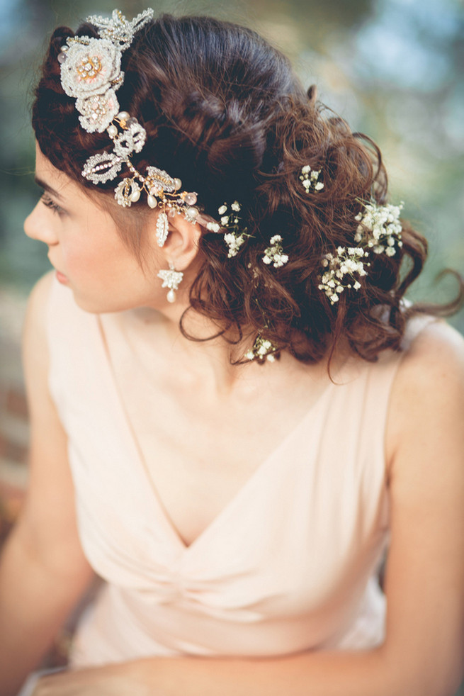 Wrap around boho rope braid with Silk and lace hair vine // Luxe Handcrafted Heirloom Wedding Jewelry by Edera Jewelry // La Candella Weddings Photography