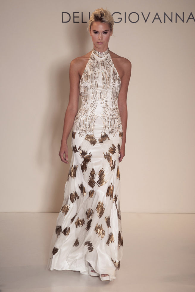 Gold and white patterned two piece ensemble from Della Giovanna Wedding Dresses