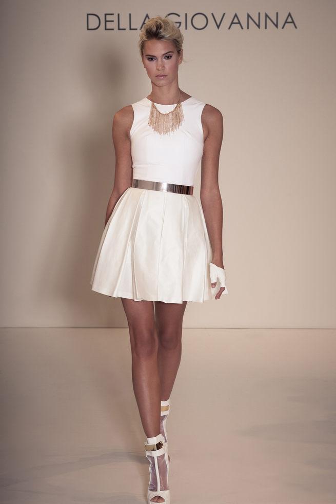 Short white wedding dress with gold belt and fingerless gloves: Della Giovanna Wedding Dresses