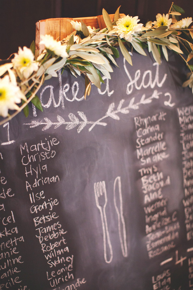 DIY chalkboard seating chart with greens. Green White Rustic South African Wedding // Justin Davis Photography